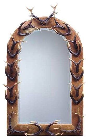 Faux tusk and antler mirror