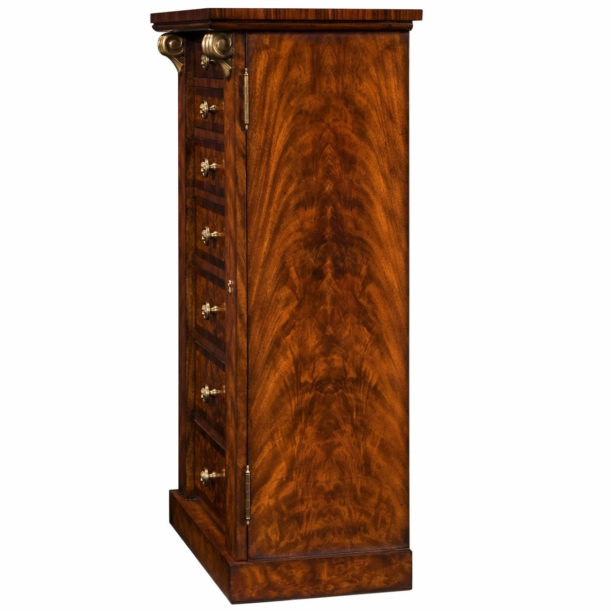 A mahogany and rosewood crossbanded Wellington chest