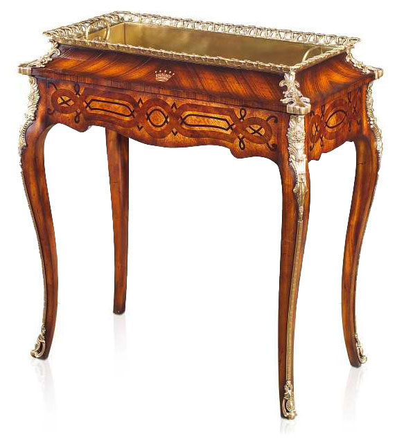 A marquetry and brass mounted jardiniere