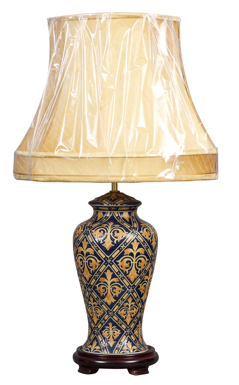 Blue and Gold Lamp and Shade