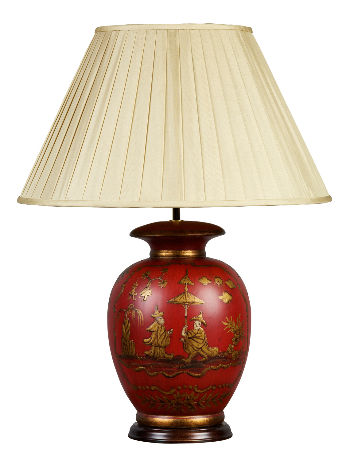 Red and Gold Chinoiserie Lamp and Shade