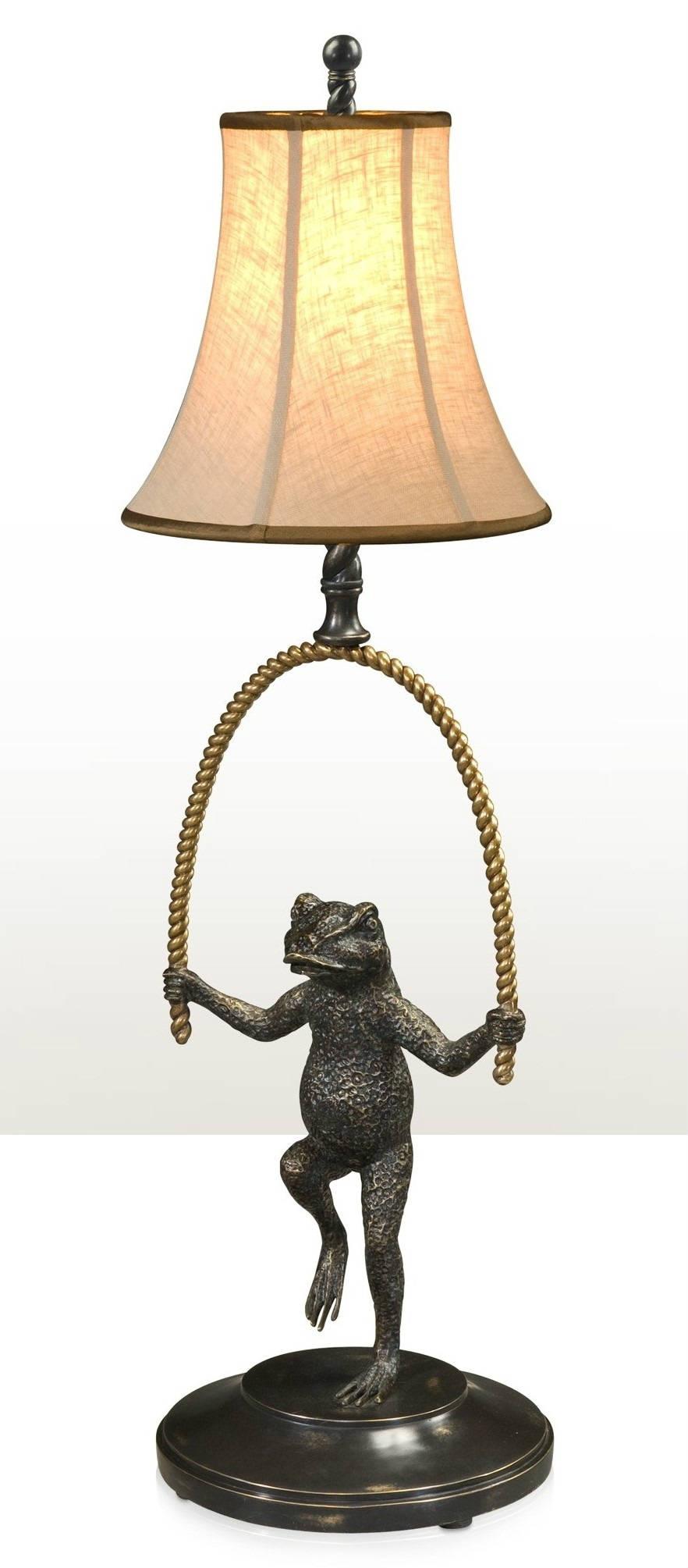 Verdigris brass frog table lamp