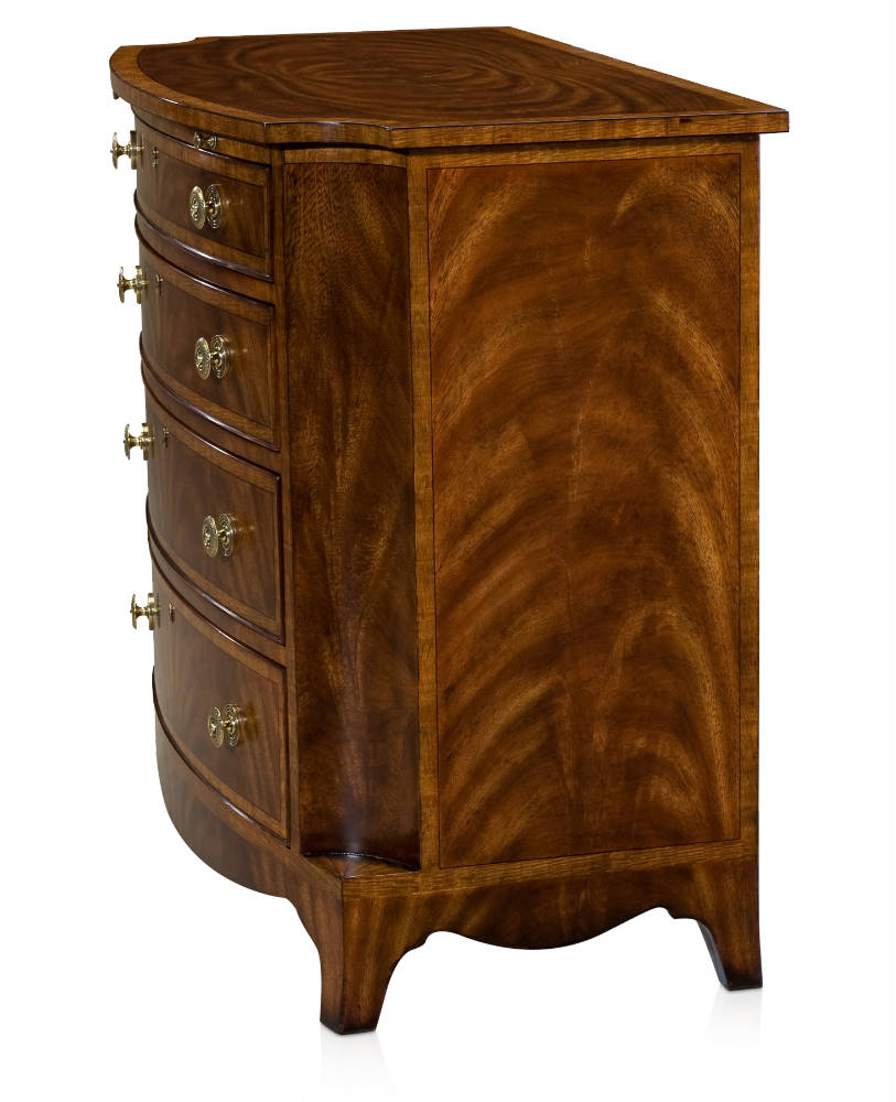 A fine flame mahogany chest of drawers