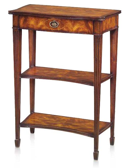 A mahogany serpentine three tier console table