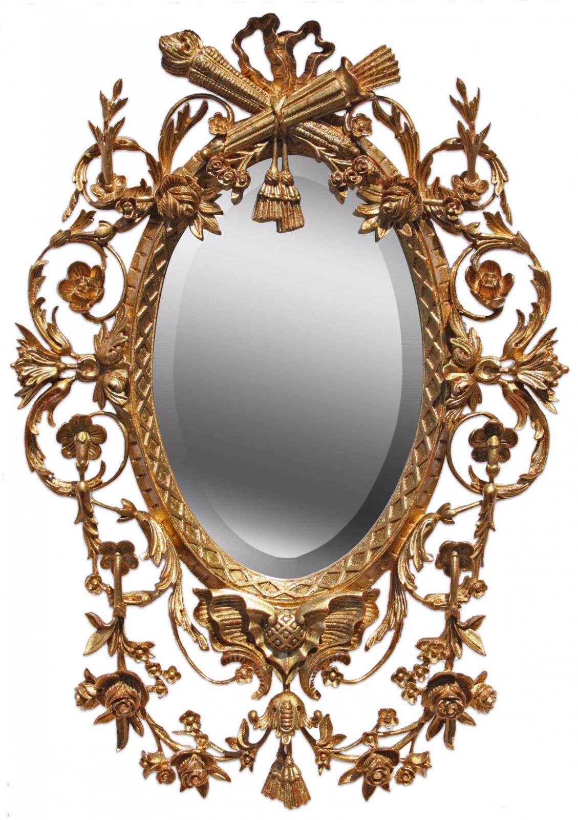 Louis XVI style oil gilded mirror