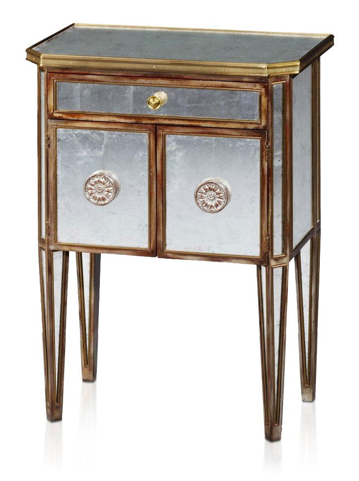 An antiqued mirror bedside cabinet