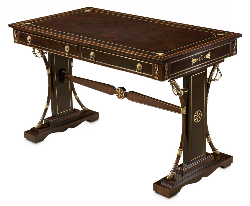 Imbuya veneered and brass inlaid writing table