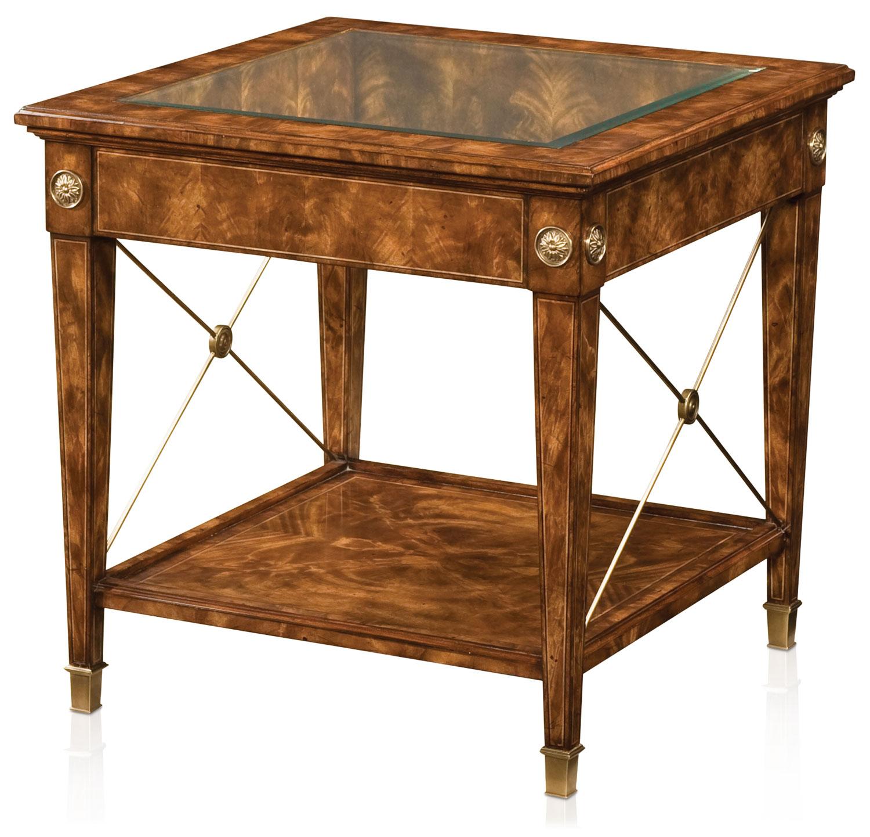 A manor flame mahogany veneered Regency style lamp table