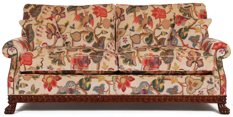 Dartington Sofa In A Floral Print Velvet, Fabric Sofas In