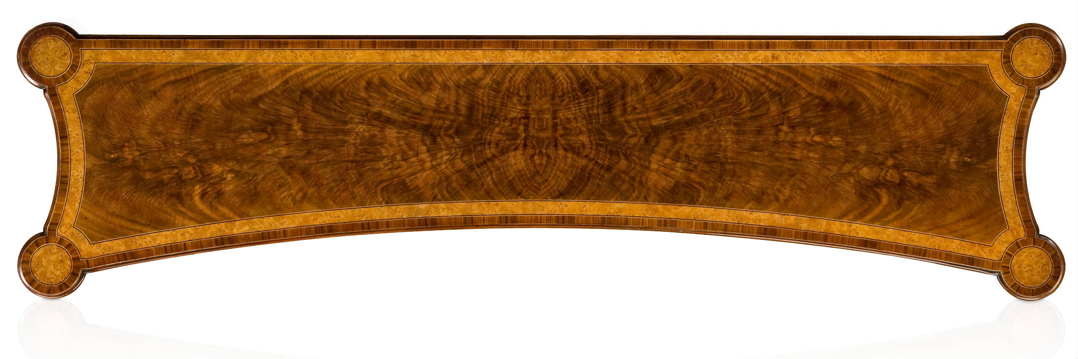 Walnut and yew burl veneered console table