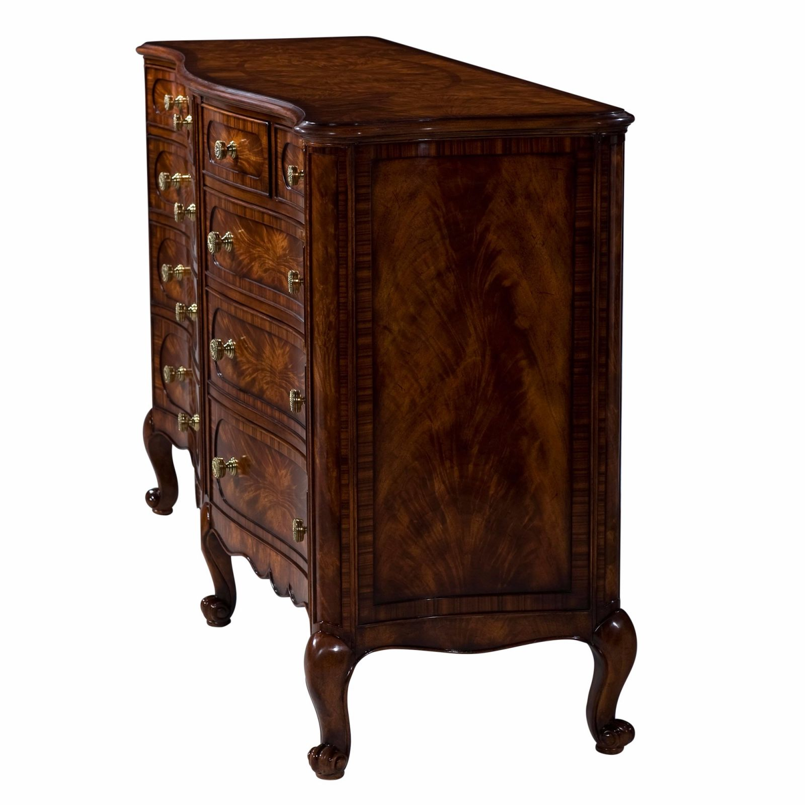 Georgian style mahogany serpentine dresser