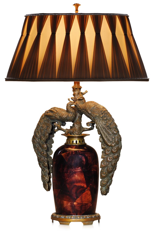 Verdigris brass mounted table lamp