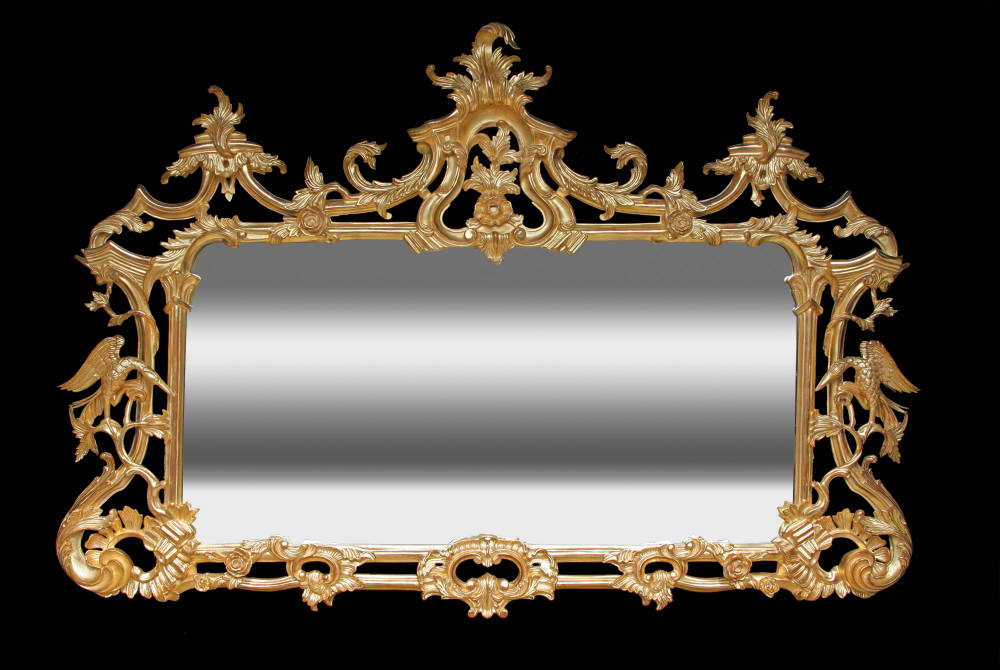Water gilded Chippendale style overmantel mirror