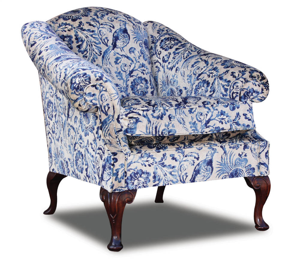 Coleridge arm chair in antiqued velvet print