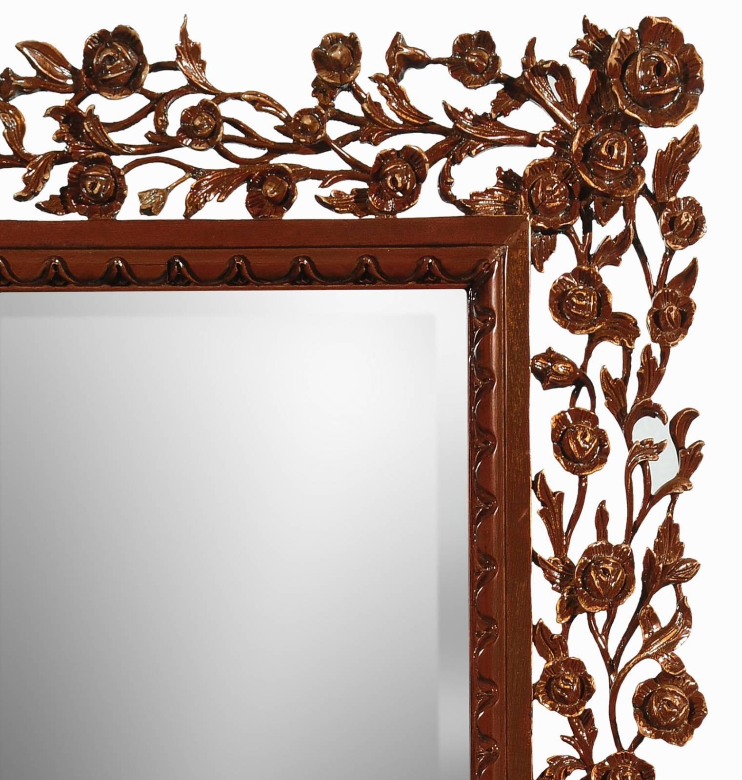 Rose hand carved mirror - Mahogany
