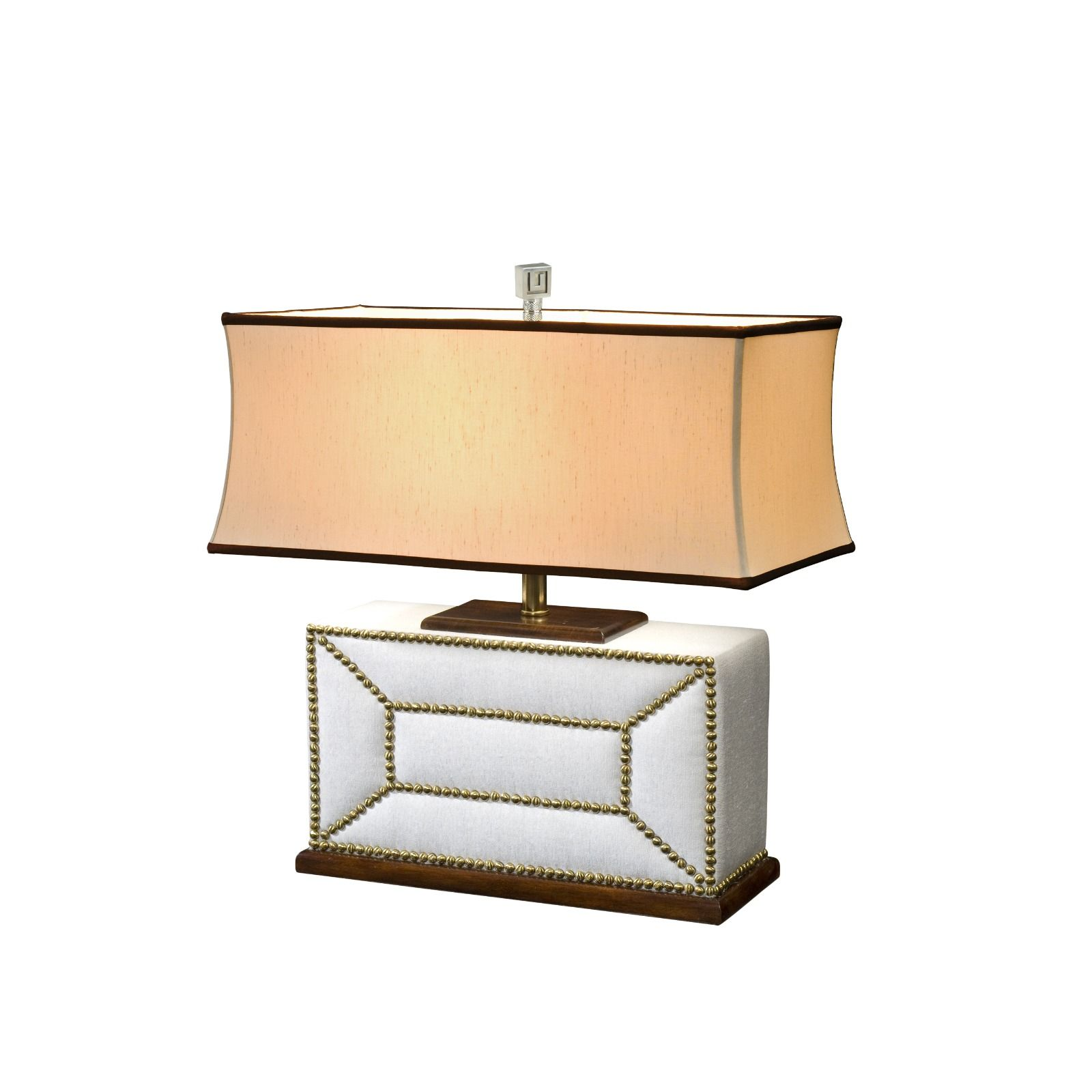 A fabric padded table lamp