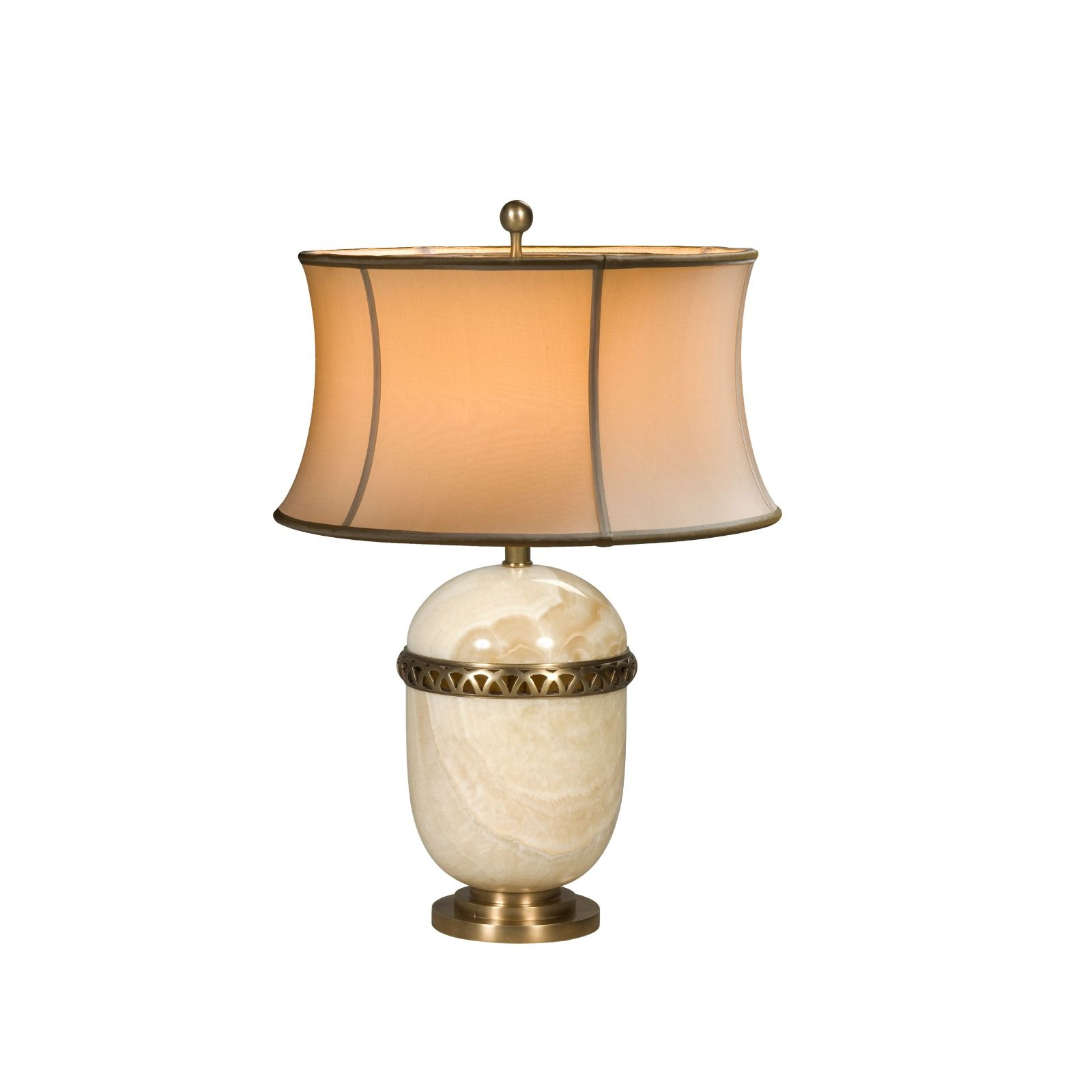 An alabaster and brass table lamp