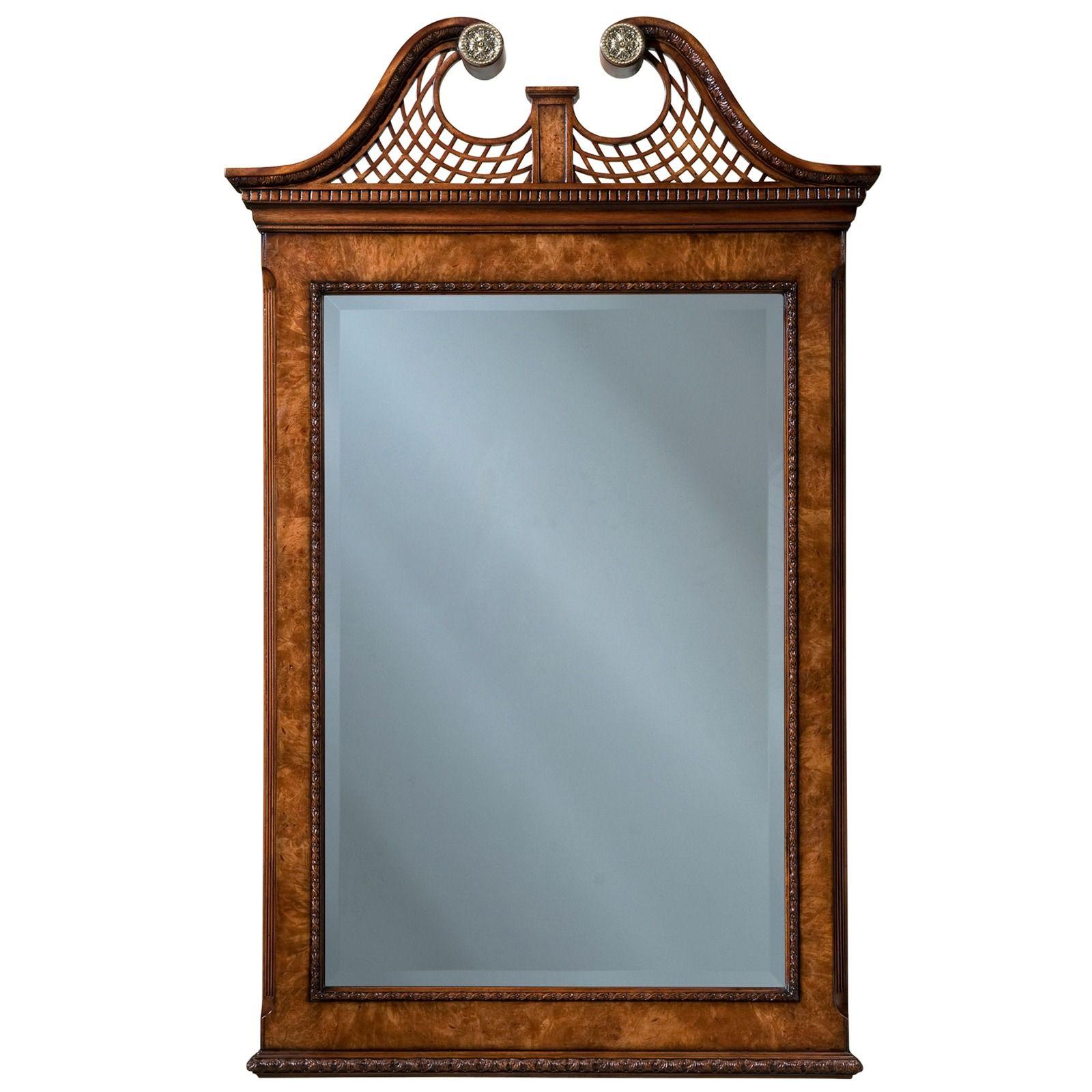 Mahogany and birds eye maple wall mirror