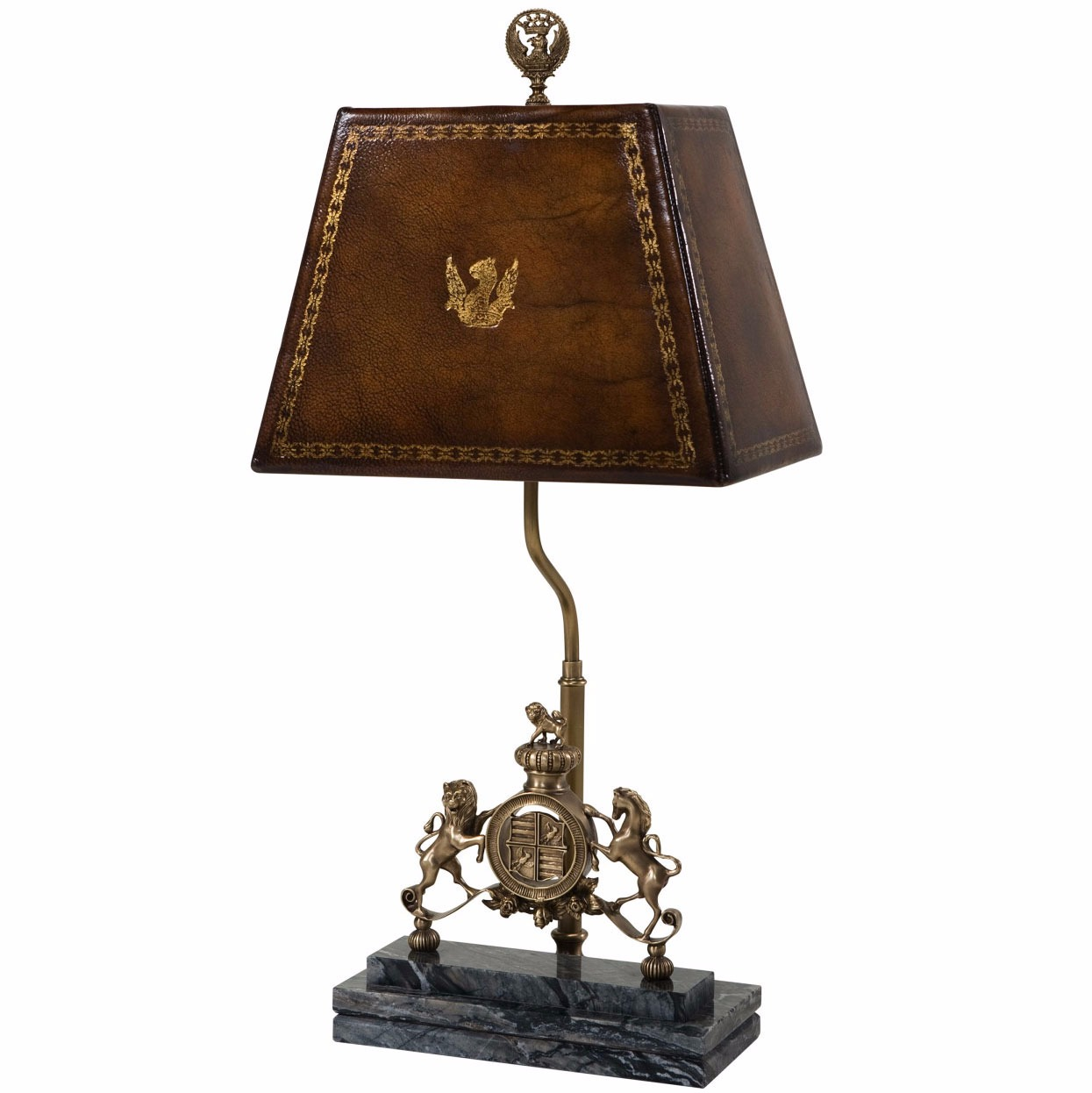 A finely cast brass table lamp with hand sewn leather shade