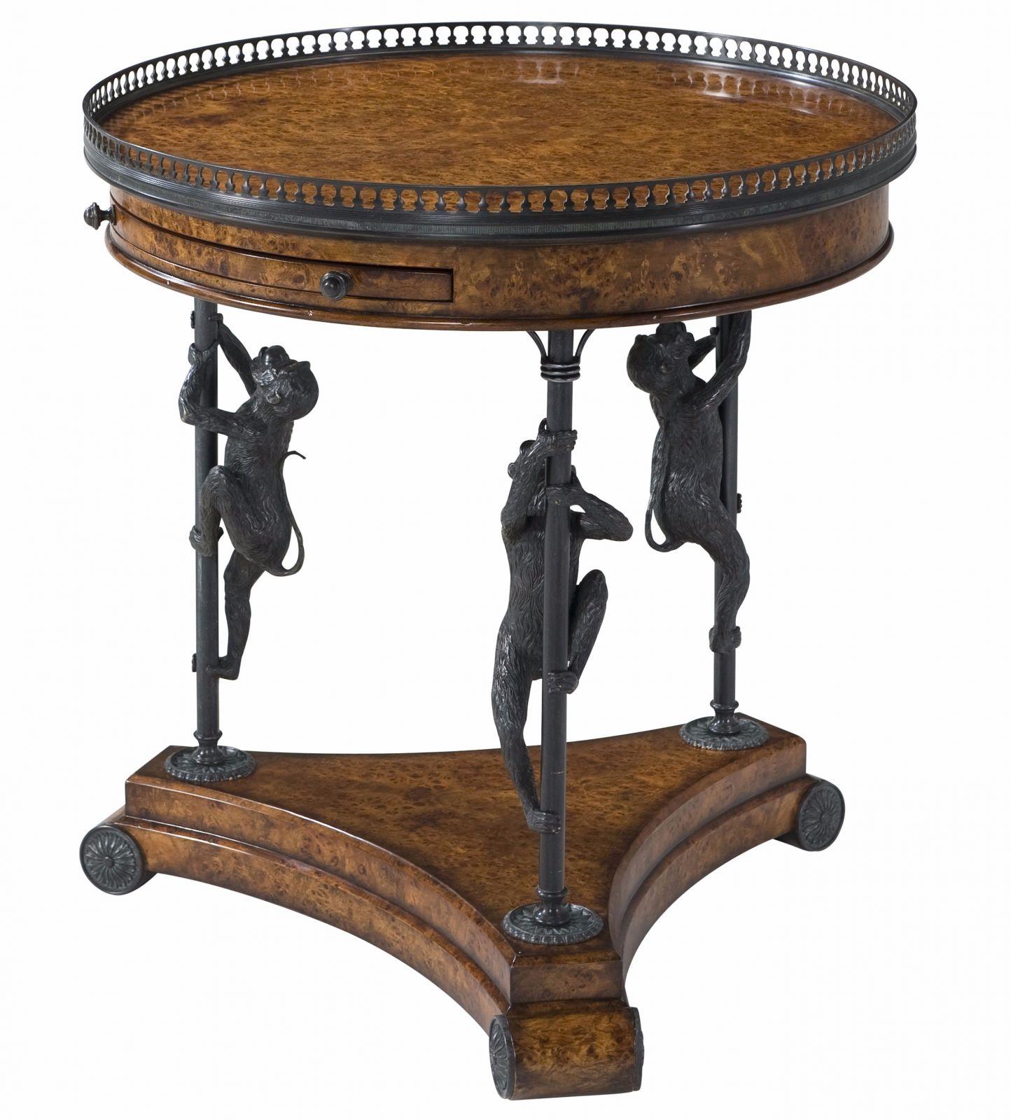 A burl and verdigris brass circular lamp table
