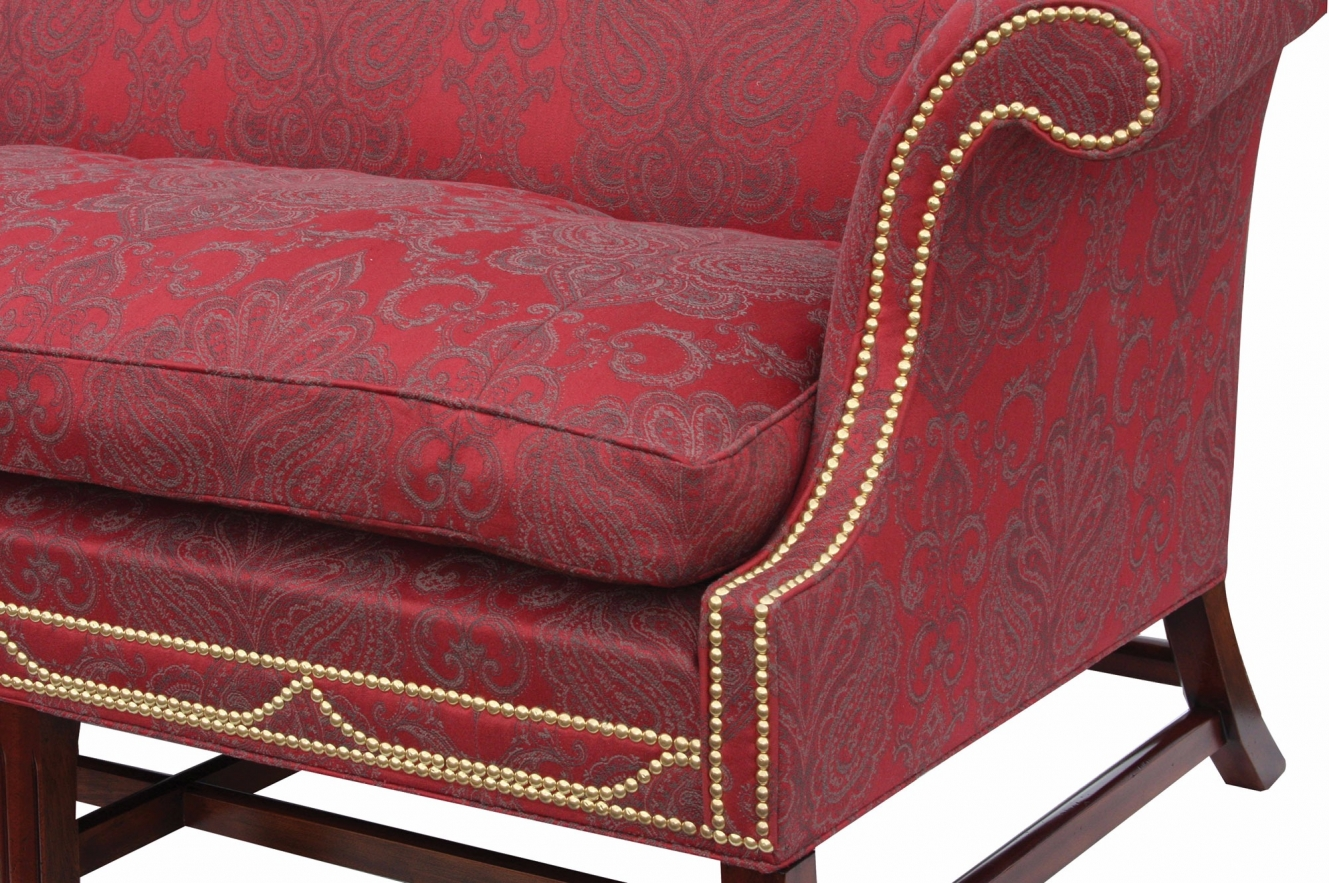 Boston 3 seat in Albany redcurrant with polished brass studs