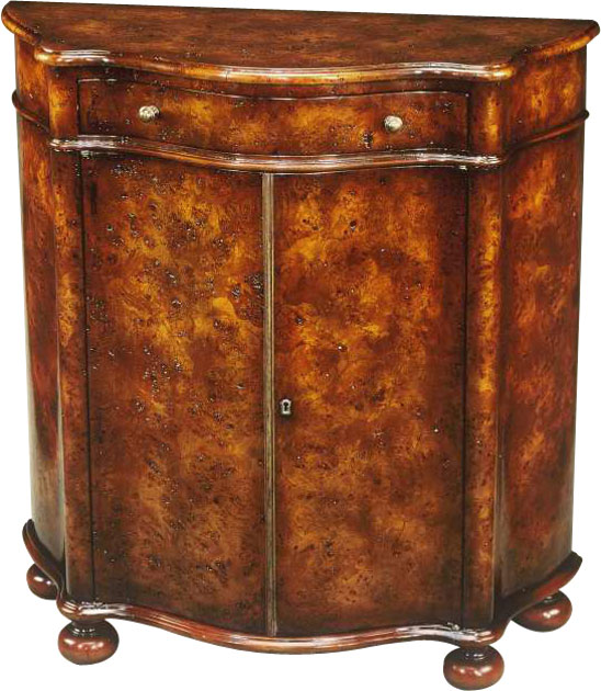 Louis XV style burl serpentine side cabinet