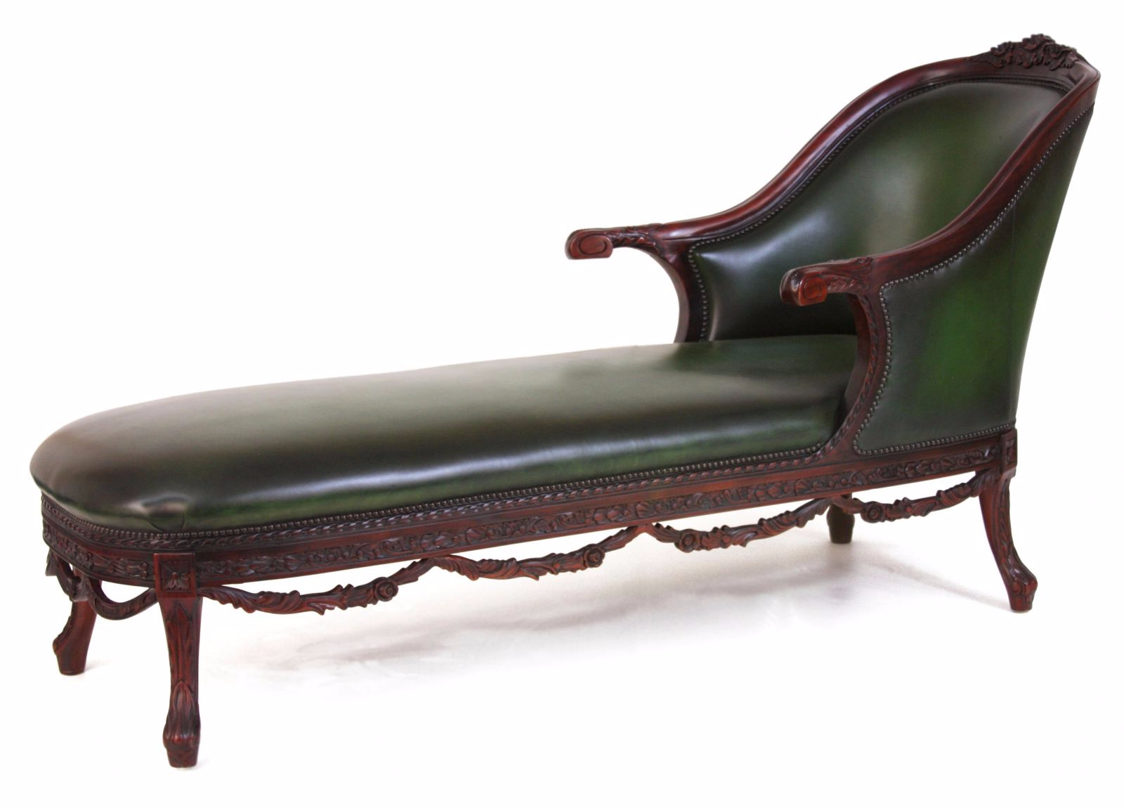 Green leather chaise longue occasional seating in stock for Chaise longue leather