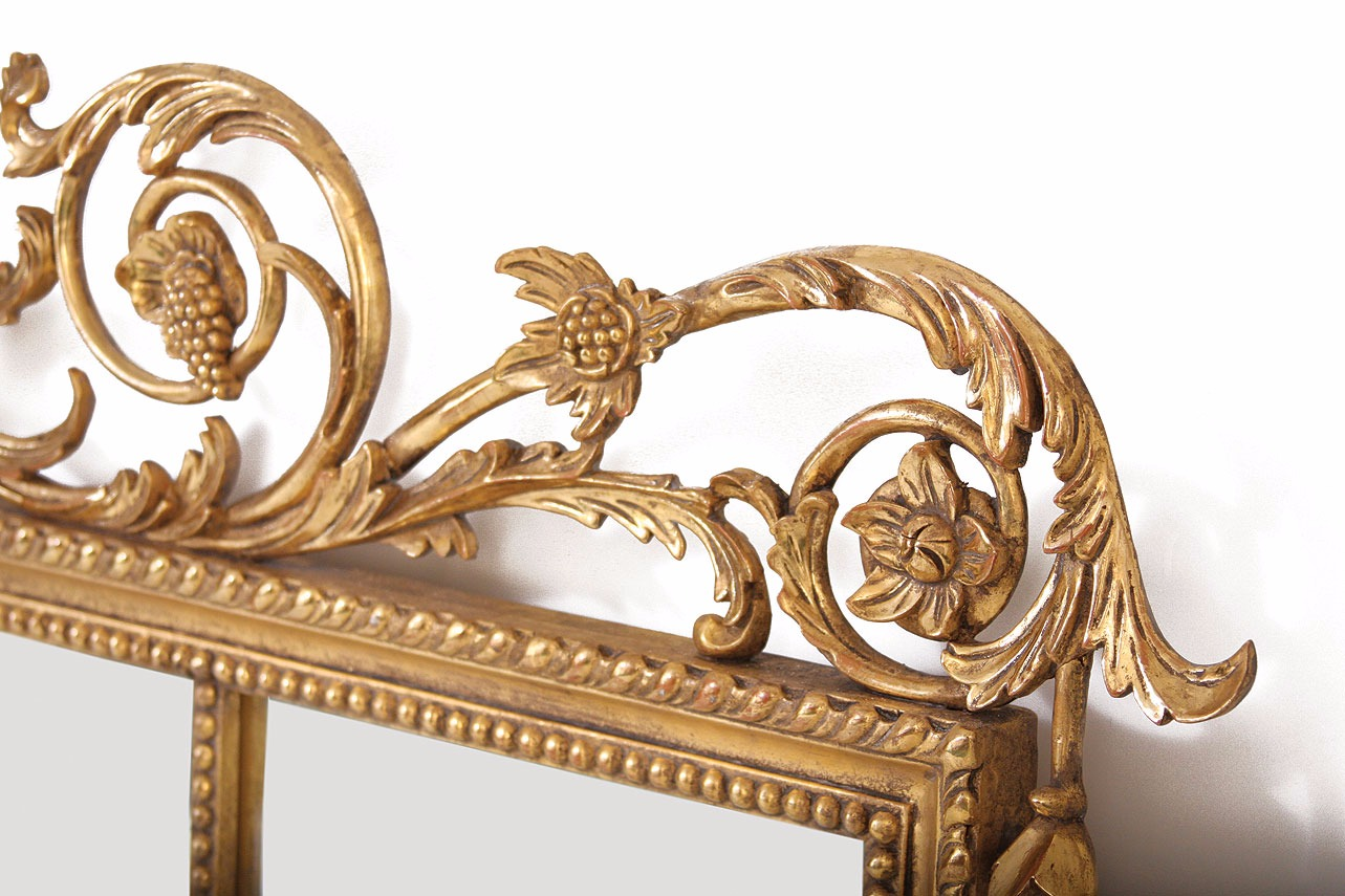 Water gilded overmantel mirror