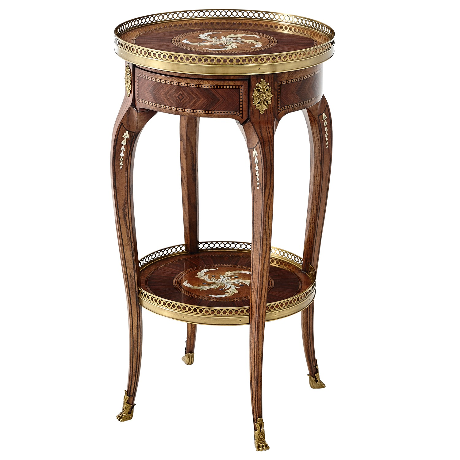 A mother of pearl inlaid lamp table
