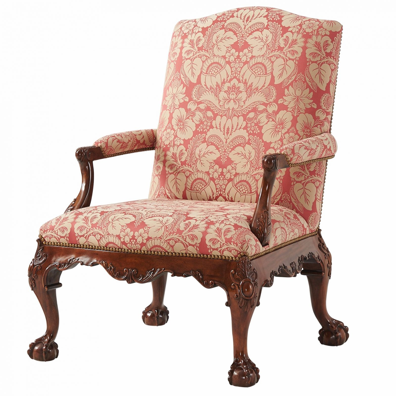 Gainsborough chair in red cotton jacquard