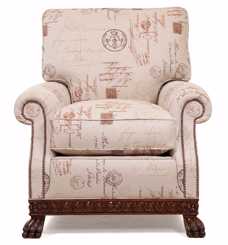 Dartington chair in a printed linen
