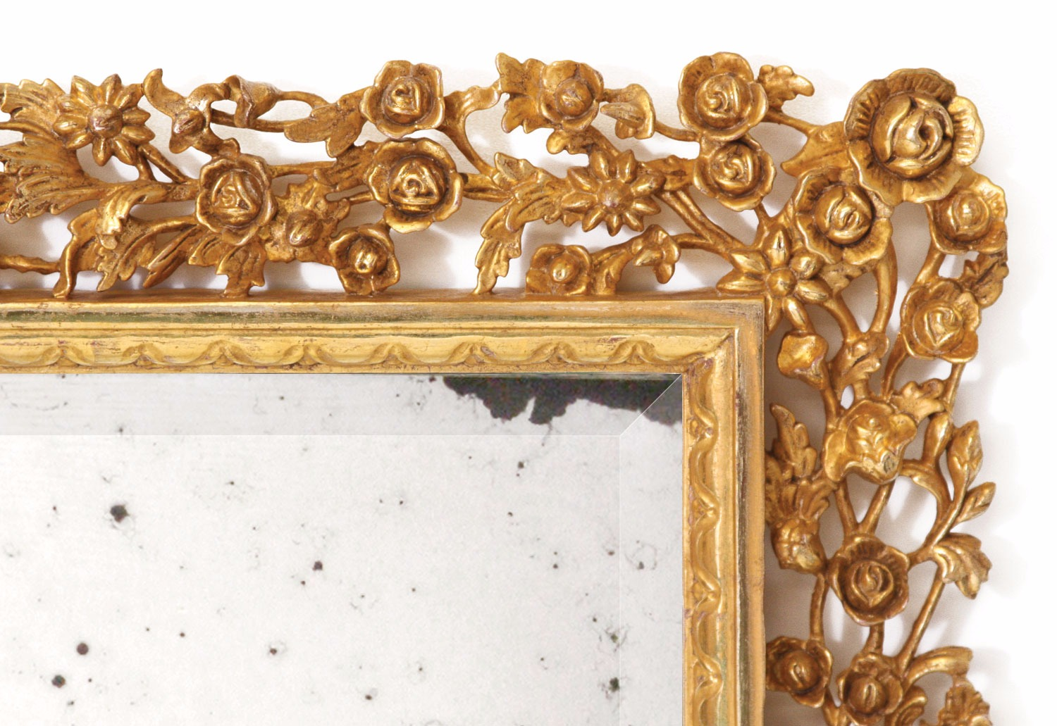 Water gilded hand carved mirror with antiqued glass