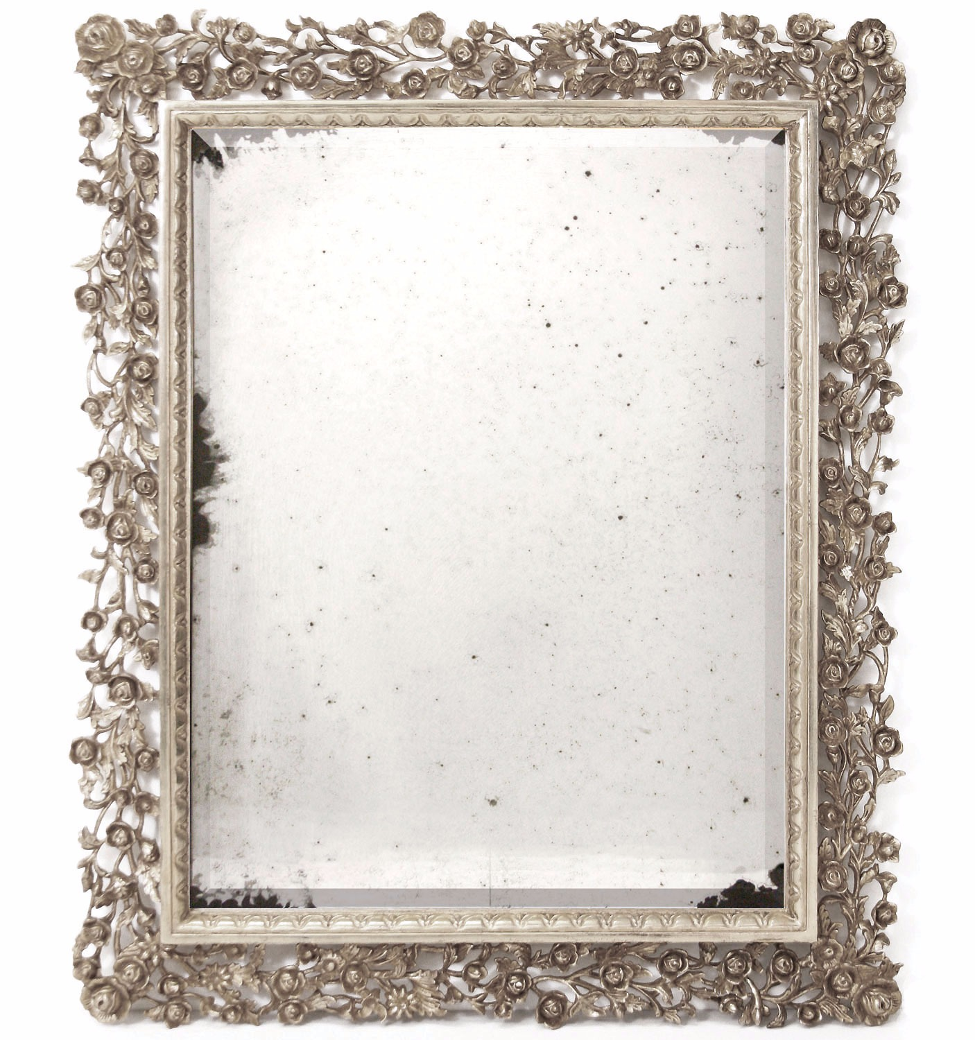 Hand carved mirror in white gold with antiqued glass