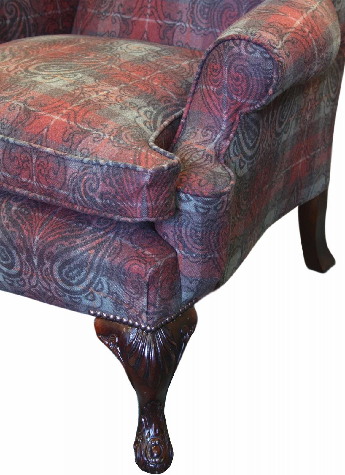 Hambledon wing chair in Alberta Maple Jacquard