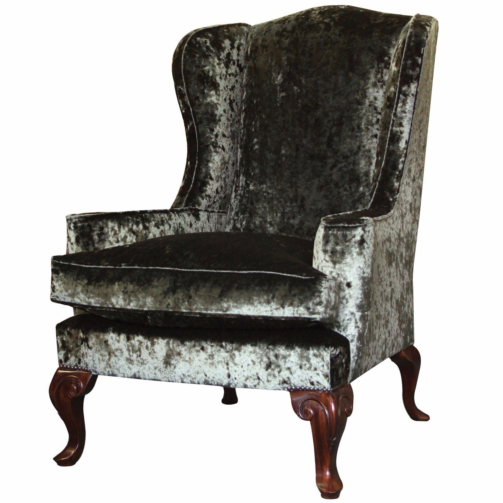 Melbury wing chair in Emerald velvet