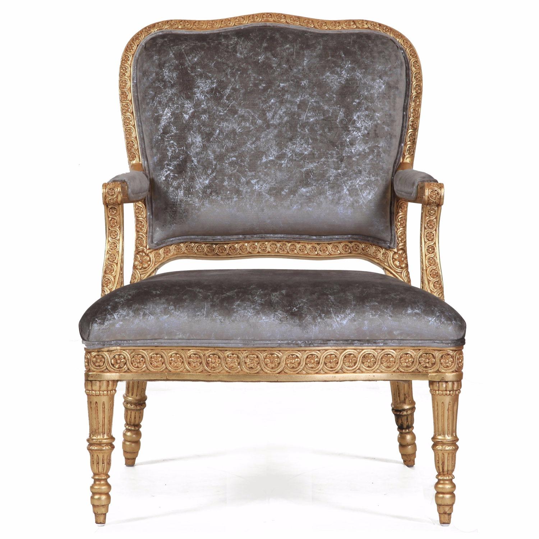 James giltwood chair in crushed sandshell velvet