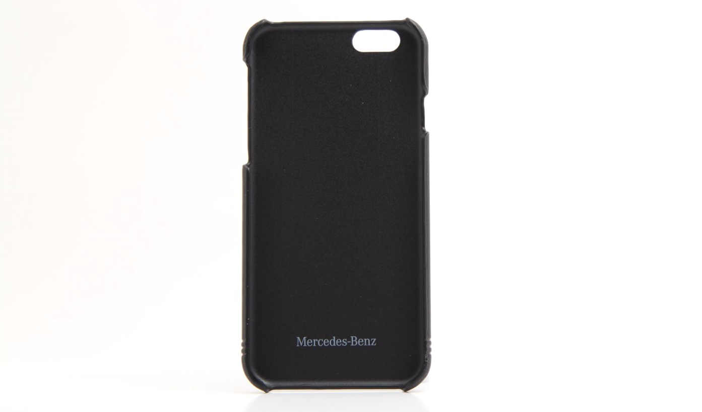 Genuine mercedes benz black leather iphone 6 6s hard shell for Mercedes benz connect iphone