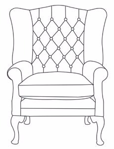 Wing chair - Buttoned