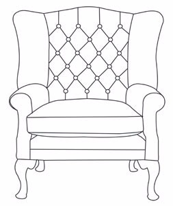Large wing chair - buttoned
