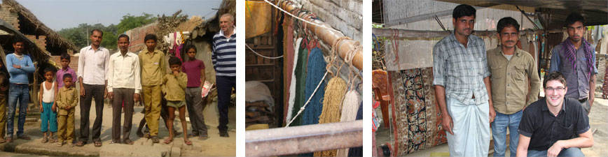 Robert and Henry Stamp visiting the handmade silk rug weavers