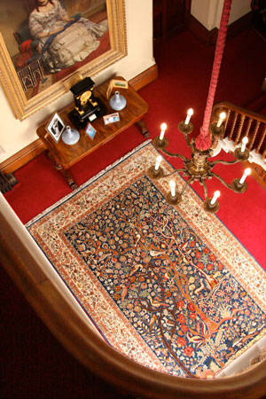 The Tehran Garden of paradise carpet in situ at Highclere Castle