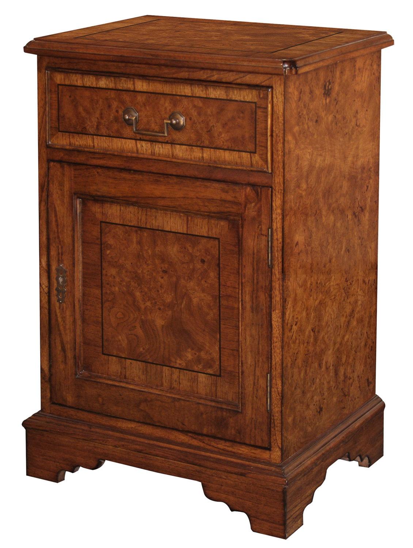 Burr oak bedside cabinet