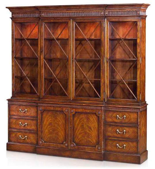 Late Georgian Style mahogany breakfront bookcase