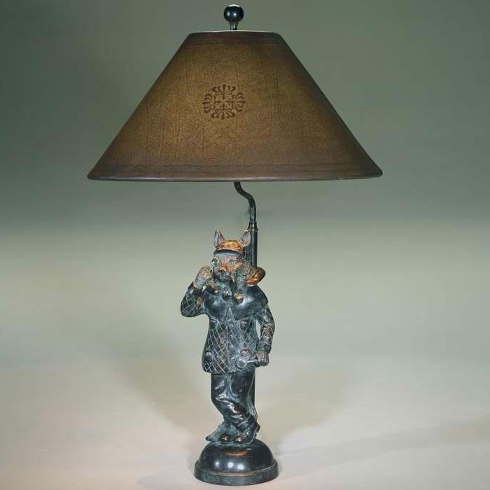 Bronze cat table lamp