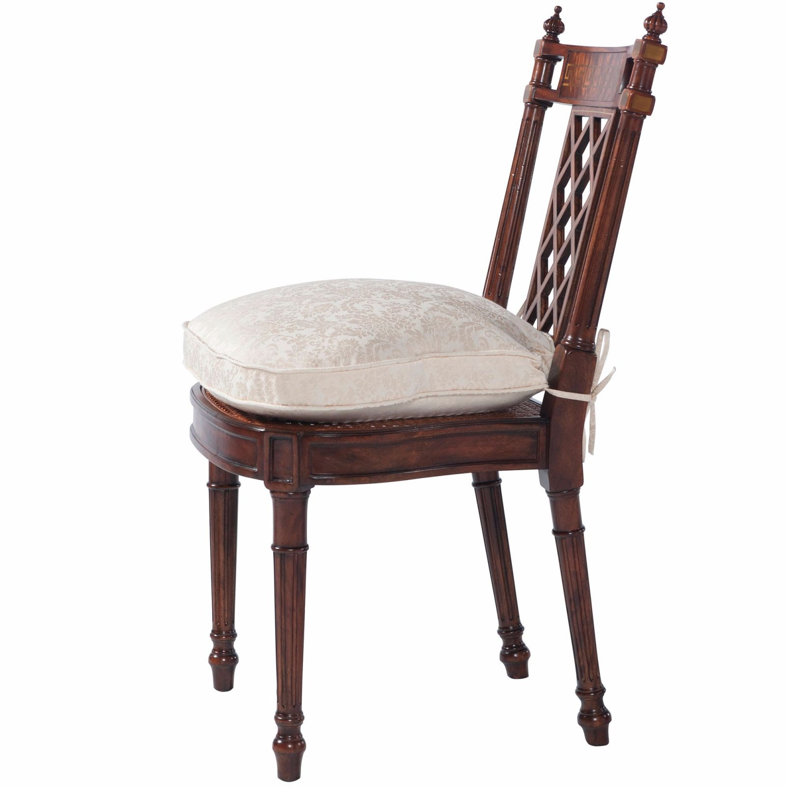 Lattice backed dining chair with greek key inlay inspired by a Thomas Sheraton Original
