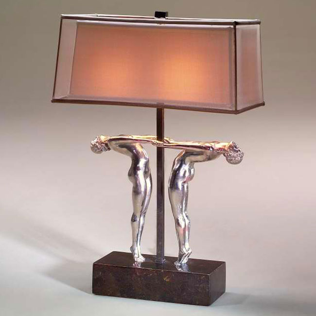 Art Deco style stainless steel table lamp