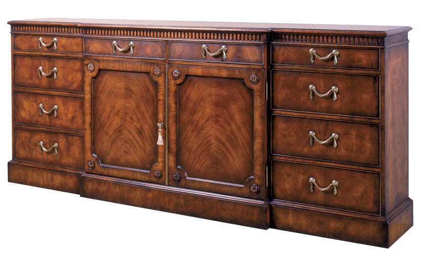 George III style mahogany breakfront sideboard