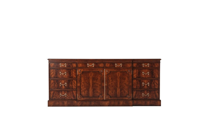 Late Georgian Inspired Mahogany Breakfront Sideboard