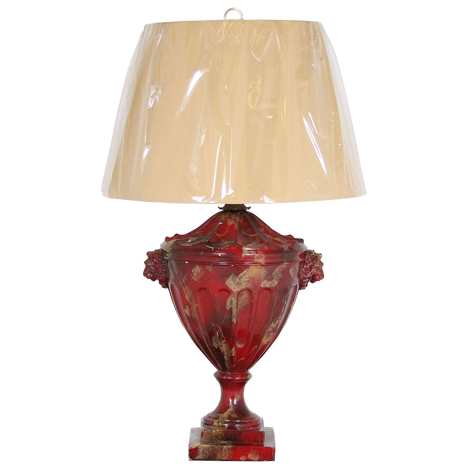 Faux red marble urn table lamp