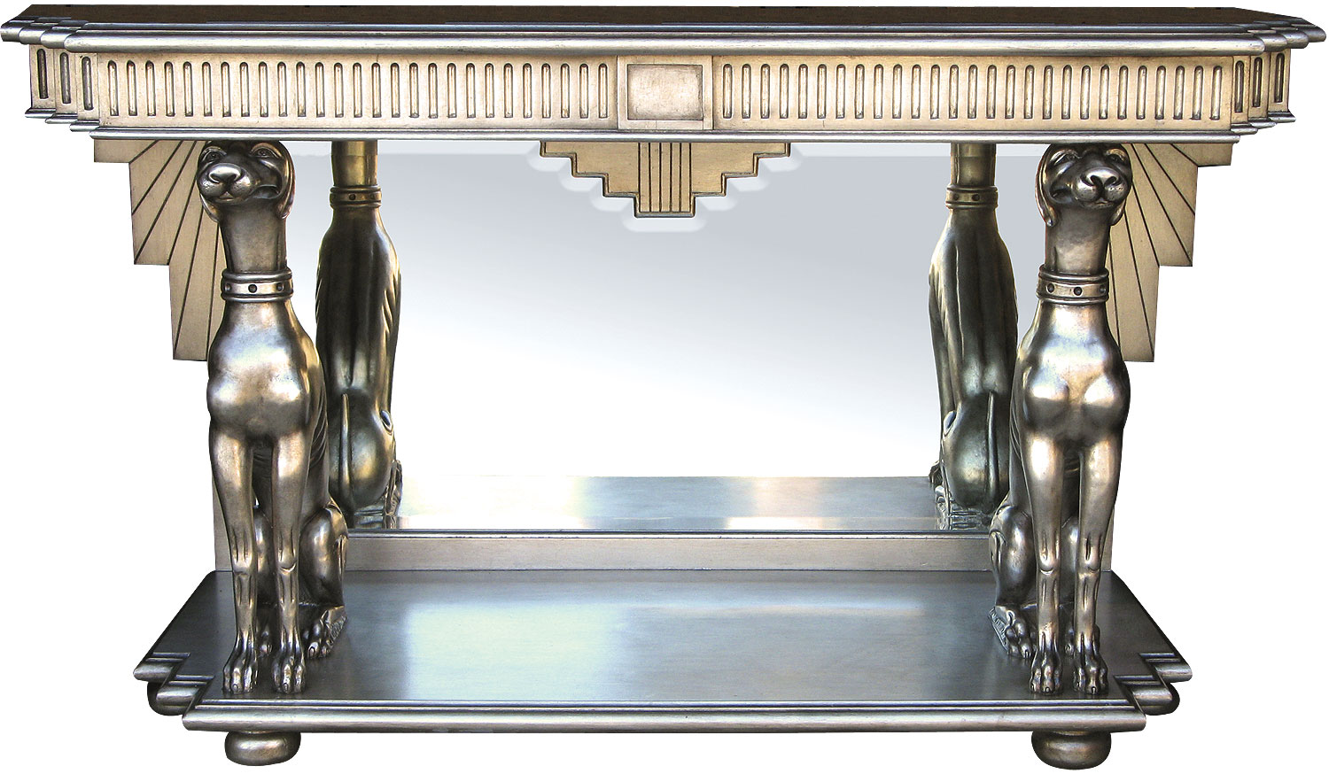 Silver leaf console table